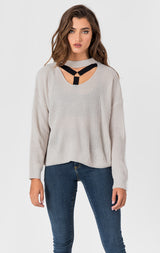 Carmar Denim: CHOKER NECK CUT OUT HARNESS SWEATER - SWEATER