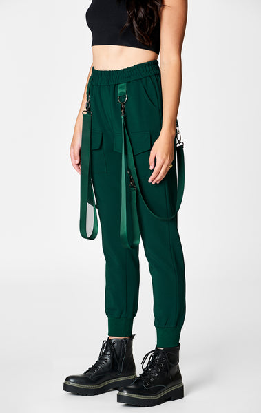 DARK GREEN HARNESS STRAP CARGO POCKET PANT