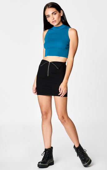 Carmar Denim: BLACK TOBY FOLDOVER WAIST ZIP FRONT SKIRT - DENIM SKIRT