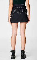 Carmar Denim: BELTED ZIP SKIRT WITH GROMMETS AND SUSPENDERS - SKIRTS