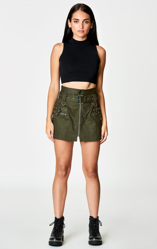 Carmar Denim: BELTED ZIP SKIRT WITH GROMMETS AND SUSPENDERS - IMPORT SKIRTS