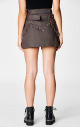 Carmar Denim: BELTED ZIP SKIRT WITH GROMMETS AND SUSPENDERS - IMPORT SKIRT