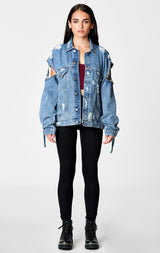 Carmar Denim: PERSEUS AUDREY OVERSIZED DENIM JACKET WITH ARM STRAP DETAIL - JACKETS
