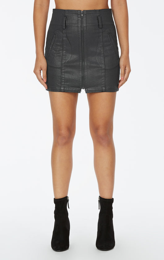 Carmar Denim: GREY WAX ZIP FRONT SKIRT - SKIRTS