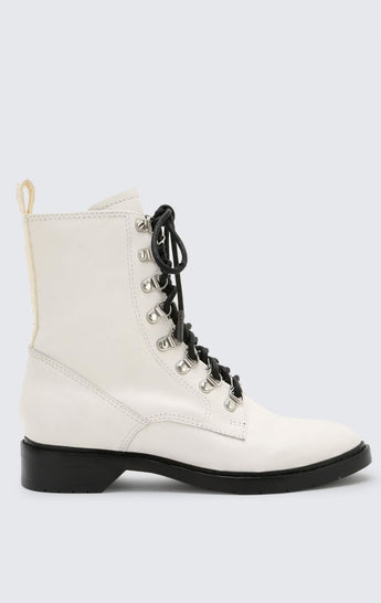 Carmar Denim: DOLCE VITA GILMAN LACE UP LEATHER COMBAT BOOT - SHOES