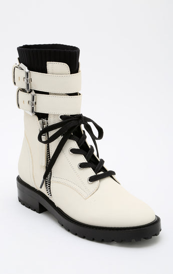 Carmar Denim: DOLCE VITA WYLIE DOUBLE ANKLE STRAP LEATHER COMBAT BOOT - SHOES