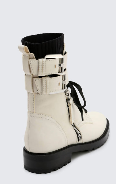 DOLCE VITA WYLIE DOUBLE ANKLE STRAP LEATHER COMBAT BOOT