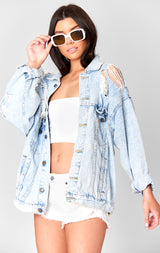 Carmar Denim: MADISON AUDREY SHREDDED CUTOUT OVERSIZE DENIM JACKET - JACKETS