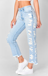 Carmar Denim: MEMPHIS EMELIA SIDE SHREDDED CROP JEAN - JEANS