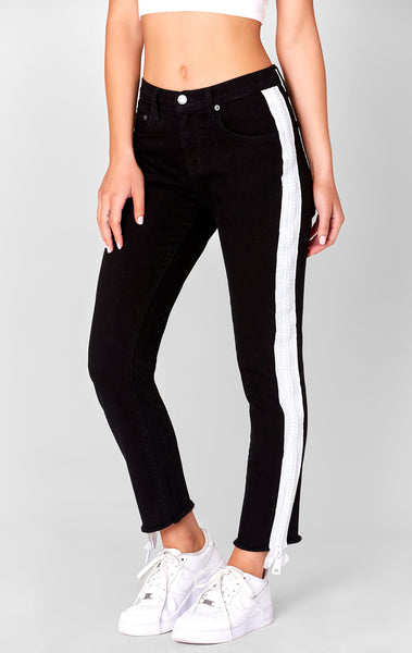 WHITE SIDE ZIP MIA JEAN
