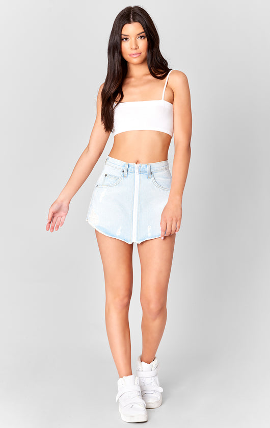 Carmar Denim: ZUNI BEATRICE WHITE ZIPPER SKIRT - SKIRTS