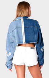 PHOENIX NICHOLAS SPLICED CROPPED DENIM JACKET