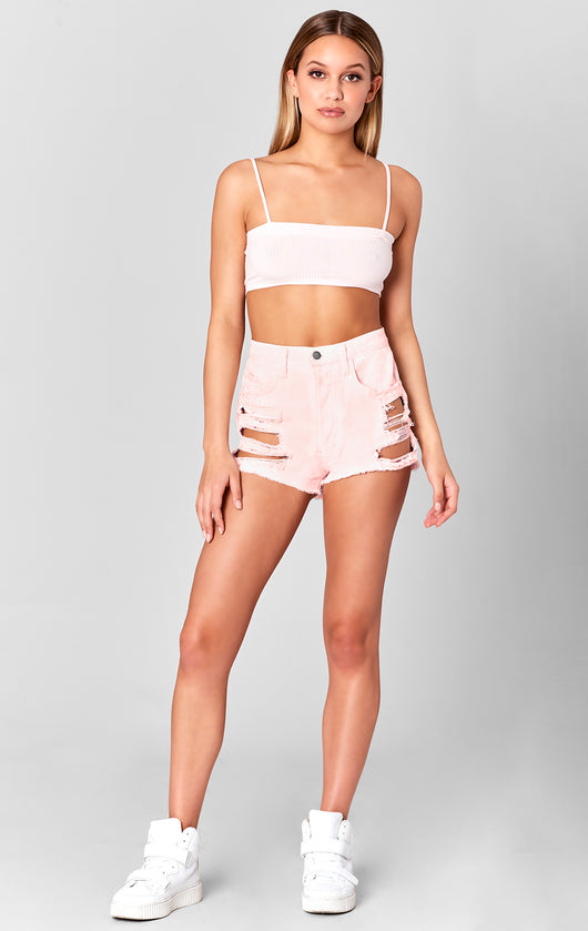Carmar Denim: PINK TITANIA SHREDDED CUTOUT SHORT - SHORTS