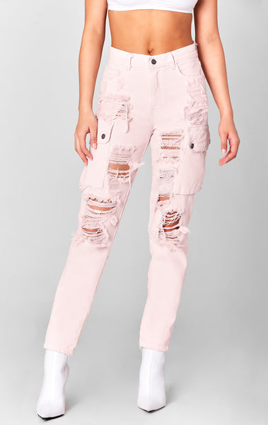 PINK ALEXANDER CARGO SIDE POCKET HIGH RISE JEAN