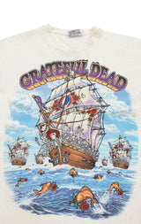 Carmar Denim: 90S SHIP OF FOOLS GRATEFUL DEAD DOUBLE GRAPHIC VINTAGE TEE - VINTAGE TEE