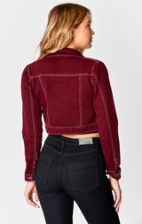 Carmar Denim: BURGUNDY CLAUDIUS CROP DENIM JACKET - JACKETS