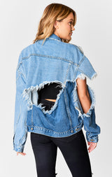 Carmar Denim: DIAGONAL SPLICE OVERSIZE DENIM JACKET - JACKETS