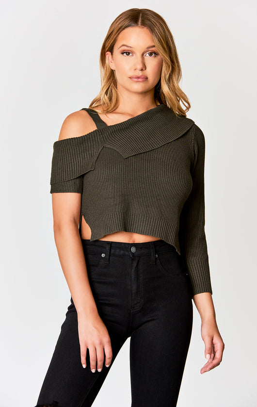 Carmar Denim: ASYMMETRICAL OFF THE SHOULDER SWEATER - SWEATER
