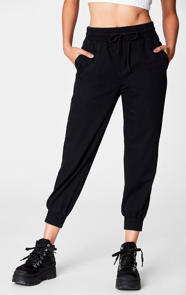 BLACK DRAWSTRING CROP PANT