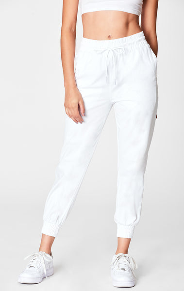 WHITE DRAWSTRING CROP PANT