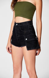 Carmar Denim: BLACK TITANIA CARGO SIDE POCKET SHORT - SKIRTS