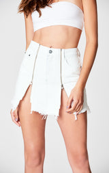 Carmar Denim: WHITE COLIN DOUBLE ZIP FRONT SKIRT - SKIRTS