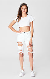 Carmar Denim: WHITE OTHELLO CUT OUT BERMUDA SHORT - SHORTS