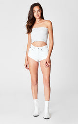 Carmar Denim: WHITE LENNOX HIGH RISE HOT SHORTS - SHORTS