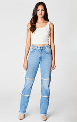 Carmar Denim: PEYTON HORIZONTAL DOUBLE ZIP JULIET JEAN - JEANS