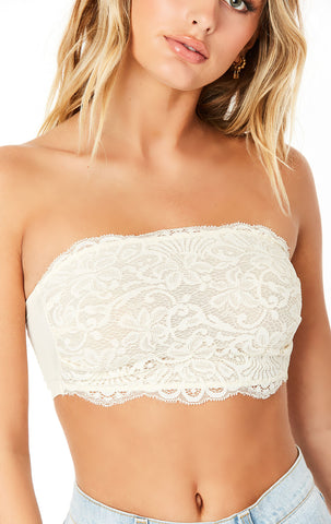SQUARE NECK LACE BANDEAU