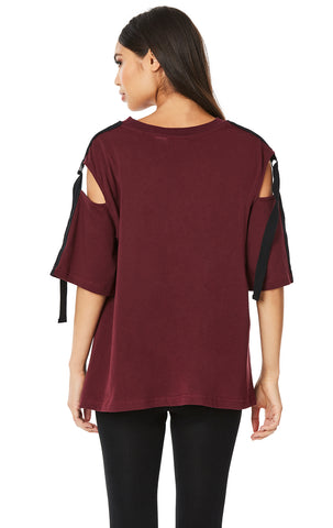 SHORT SLEEVE CUT OUT SHOULDER TEE WITH D-RING TAPE