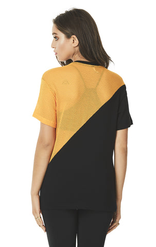 SHORT SLEEVE DIAGONAL COLOR BLOCK TEE