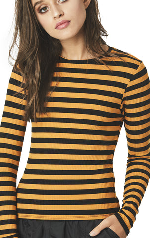 STRIPED LONG SLEEVE RIBBED TEE