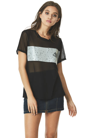 SHORT SLEEVE MESH TEE WITH SILVER BAND