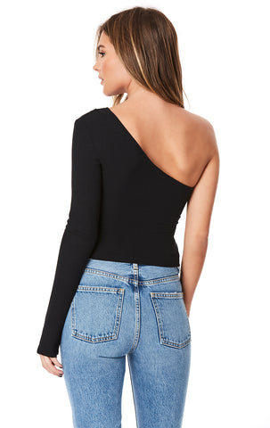 ONE SHOULDER LONG SLEEVE CUT OUT TEE