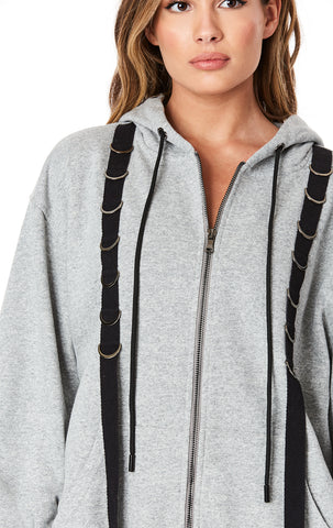 FRONT ZIP HOODIE WITH D-RING TAPE