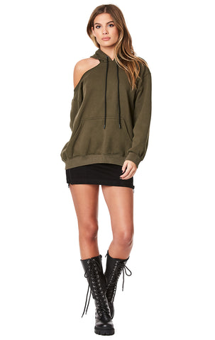 ONE CUTOUT SHOULDER OVERSIZED HOODIE