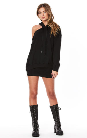 ONE SHOULDER CUTOUT OVERSIZED HOODIE