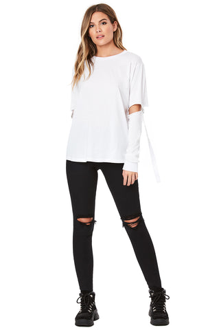 LONG SLEEVE TEE WITH TAPE AND D-RING CUTOUT ARM