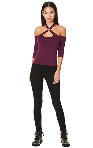 BALLERINA NECK WITH O-RING HALF SLEEVE TEE
