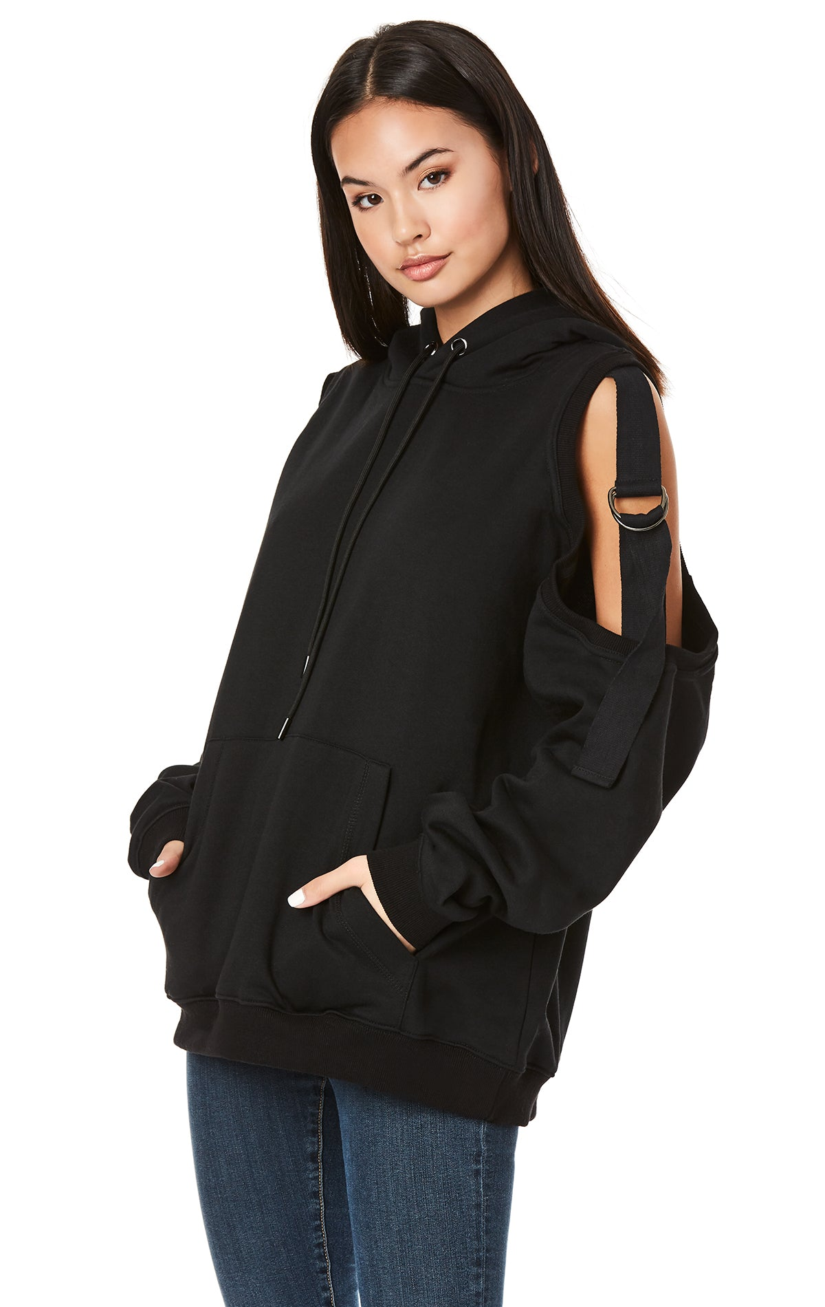 e13a79757468 EMMA   SAM OVERSIZED HOODIE WITH D-RING TAPE CUTOUT SHOULDER