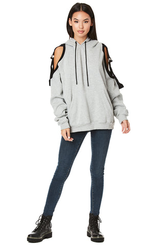 OVERSIZED HOODIE WITH D-RING TAPE CUTOUT SHOULDER