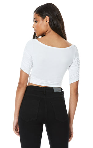 RUCHED FRONT HALF SLEEVE TEE