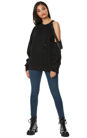 CUT OUT SHOULDER SWEATSHIRT WITH GROMMET TAPE AND CHAIN