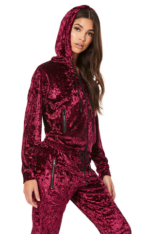 CRUSHED VELVET ZIP UP JACKET