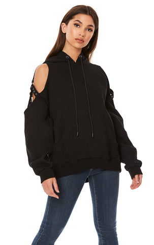 CUT OUT SHOULDER HARNESS OVERSIZED HOODIE
