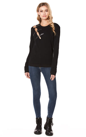 SWEATSHIRT WITH CUT OUT SHOULDER AND BUCKLES