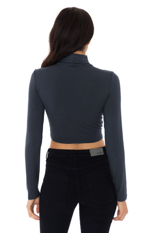 LONG SLEEVE CINCHED FRONT CUTOUT TURTLENECK