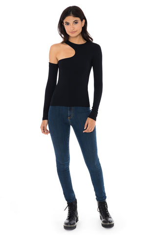 CUT OUT ONE SHOULDER LONG SLEEVE FITTED TEE
