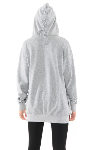 LACE UP HOOD SWEATSHIRT